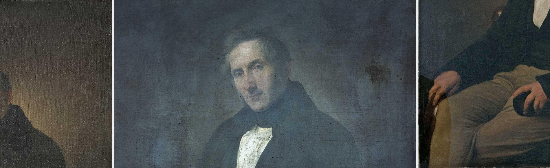 Da sinistra, particolare del dipinto (fig. 7); particolare in UVF (fig. 8); particolare durante la pulitura  (fig. 9)