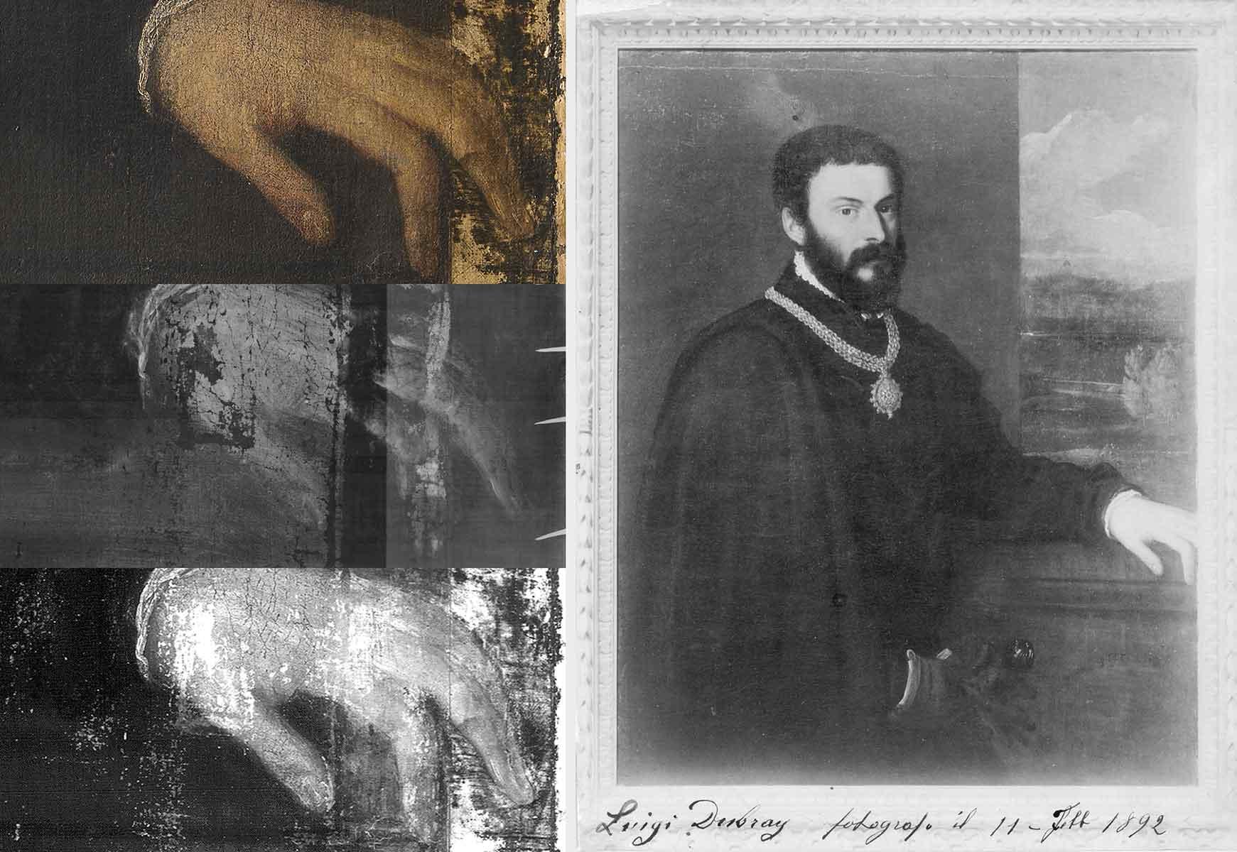A sinistra, dettaglio della mano sinistra in luce visibile prima del restauro, RX e IRR (fig. 4). A destra, foto del dipinto dopo il restauro di Cavenaghi, realizzata nel 1892 da Luigi Dubray (fig. 5)