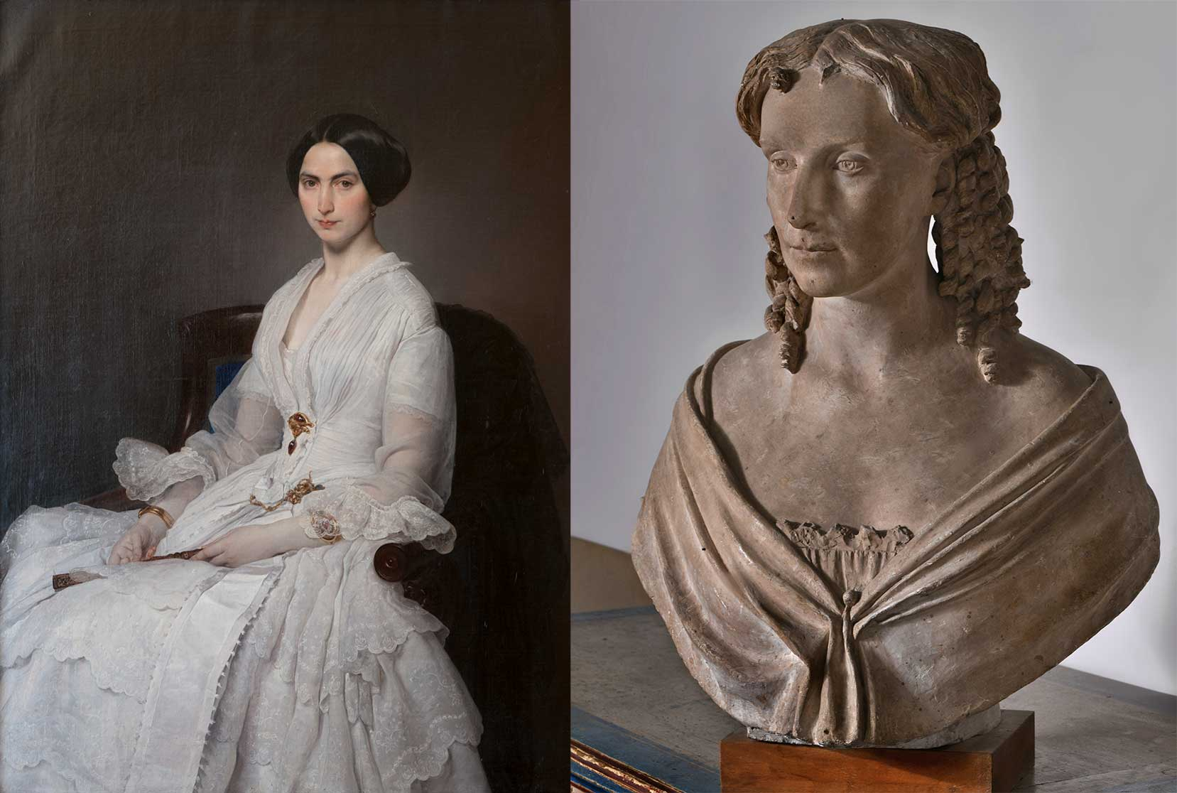 On the left, Francesco Hayez, Ritratto di Selene Taccioli Ruga, 1852. On the right, Lorenzo Bartolini Ritratto di Anna Maria Virginia Buoni, 1835 circa.