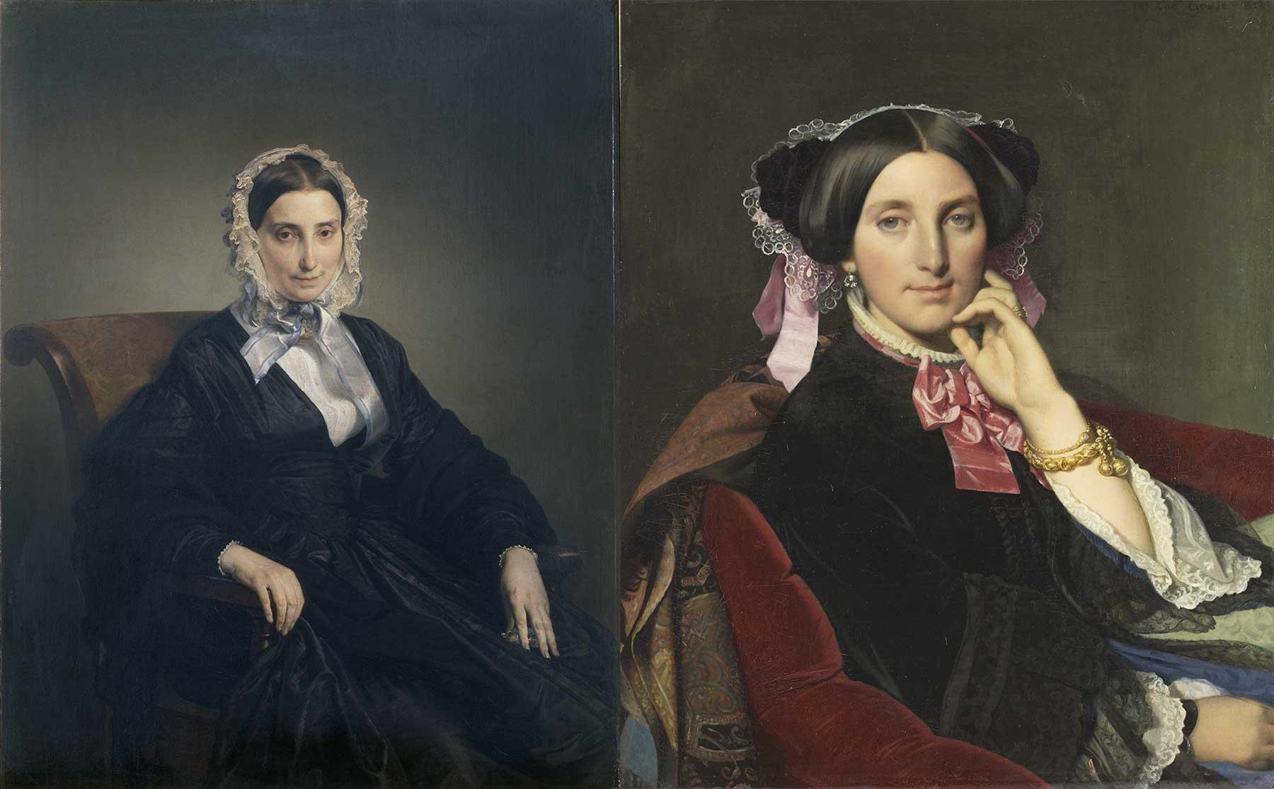 A sinistra, Francesco Hayez, Ritratto di Teresa Manzoni Stampa Borri, 1847-1849, olio su tela (Pinacoteca di Brera). A destra, Jean-Auguste-Dominique Ingres, Ritratto di madame Gonse, 1852, olio su tela (Musée Ingres, Montauban).