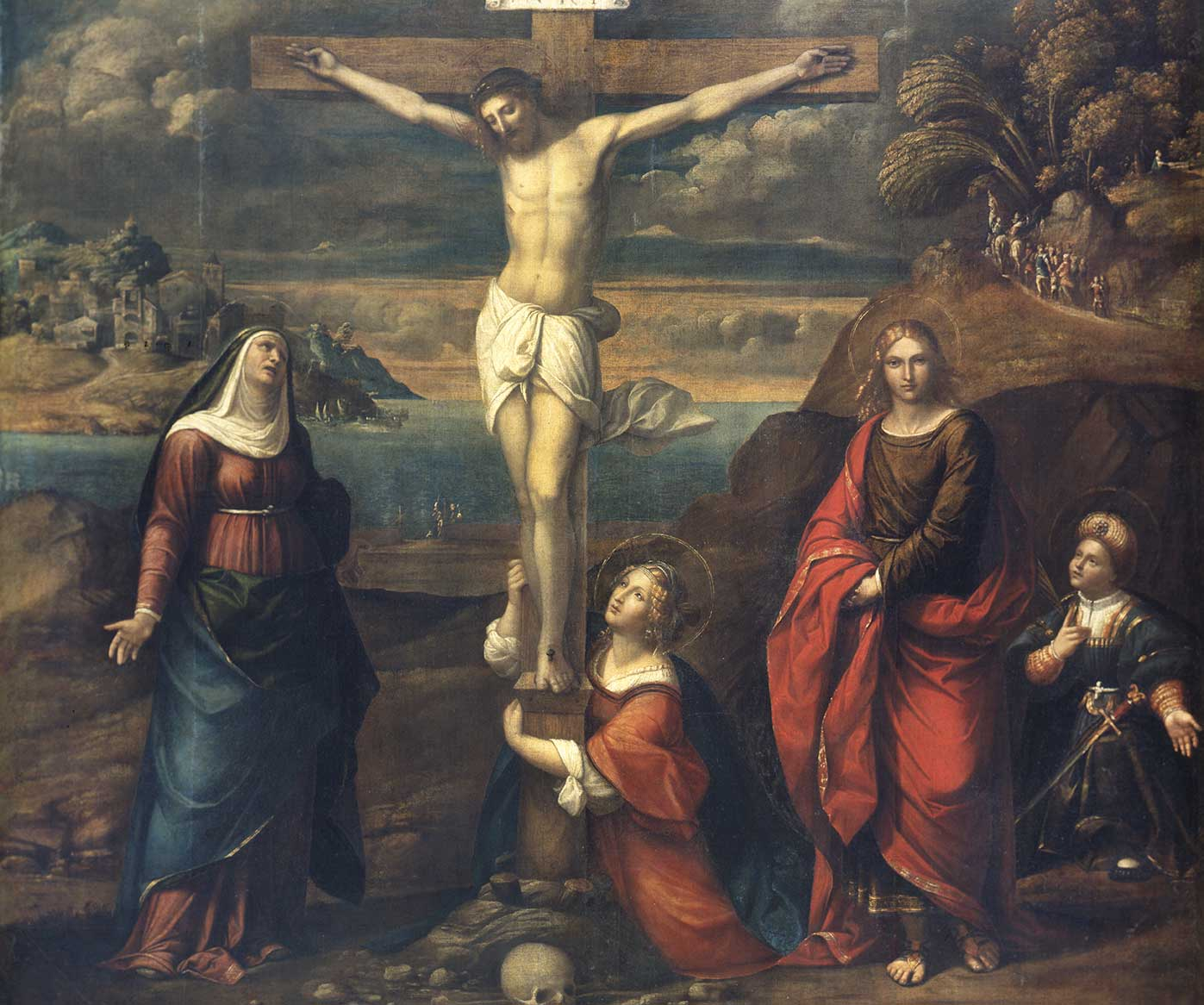 Cristo Crocefisso, con la Vergine, Maria Maddalena e i Santi Giovanni Evangelista e Vito, Benvenuto Tisi detto il Garofalo