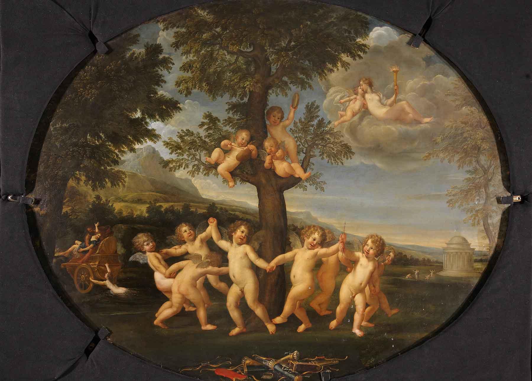 Il dipinto durante la pulitura: si notano le prove di pulitura effettuate sulle nuvole in alto a destra, vicino al tempietto, sulla montagna, nel prato e sugli incarnati degli  amorini (fig. 2)
