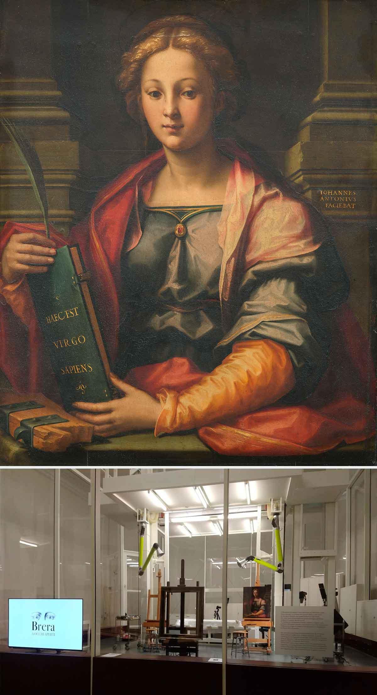 Dall'alto, Giovanni Antonio Sogliani, Santa Caterina d'Alessandria, prima del restauro (fig. 1); sotto, l'opera collocata nel laboratorio di restauro della Pinacoteca di Brera  (fig. 2)