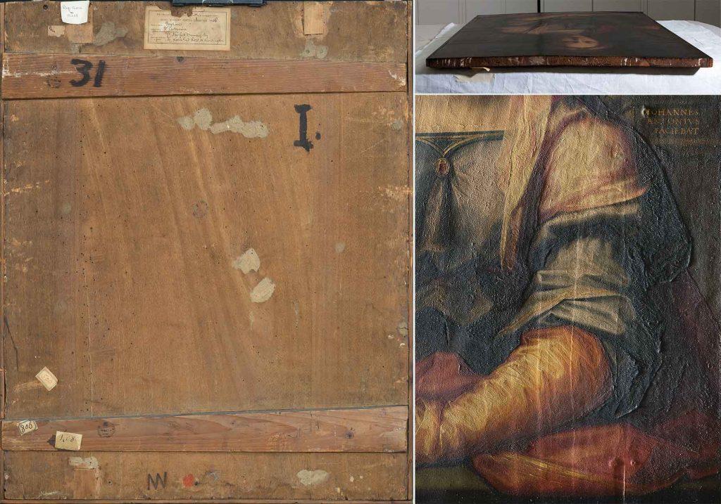 A sinistra, verso del dipinto (fig. 5); in alto a destra, particolare del margine superiore (fig. 6); a destra in basso, particolare in luce radente (fig. 7)