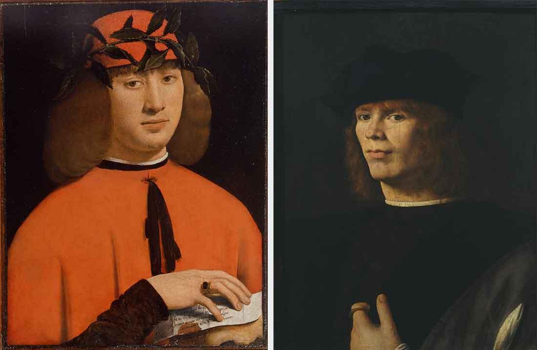 A sinistra, Ritratto di giovane, Giovanni Antonio Boltraffio, 1500 c.a. (Pinacoteca di Brera, Sala XI); a destra, Ritratto di giovane, Andrea Solario, 1500-1505 (Pinacoteca di Brera, Sala XI)