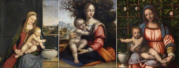 A sinistra, Madonna dei garofani, Andrea Solario, 1495 c.a. (Pinacoteca di Brera, Sala XI); in centro, Madonna con il Bambino (Madonna dell'Albero), Cesare da Sesto, 1515-1518 (Pinacoteca di Brera, Sala X); a destra, Madonna con il Bambino (Madonna del Roseto), Bernardino Luini, 1510 c.a. (Pinacoteca di Brera, Sala X)