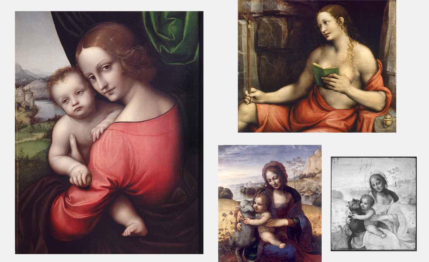 A sinistra, Madonna con il Bambino (Madonna della mela), Giampietrino (Gian Pietro Rizzoli), 1525 c.a. (Pinacoteca di Brera, Sala XII); a destra in alto, Maddalena penitente giovane Giovan Pietro Rizzoli detto Giampietrino 1520 c.a; sotto a destra, Madonna con il Bambino e l'agnellino, Pittore leonardesco, 1502-1505 (Pinacoteca di Brera, Sala XI); sotto, Madonna con il Bambino e l'agnellino (riflettografia IR)