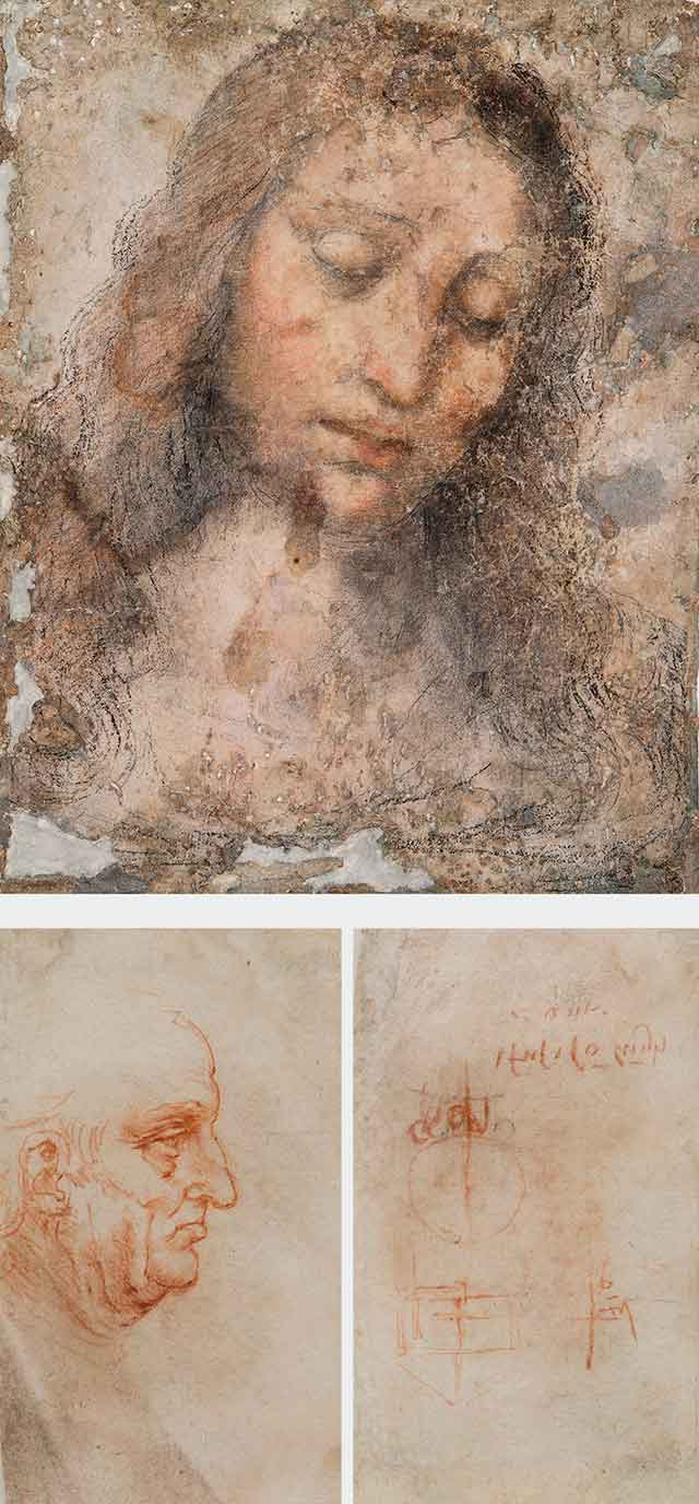 In alto, Testa del Redentore, Artista lombardo, 1500-1510 ca. (Pinacoteca di Brera, Gabinetto dei disegni); sotto a sinistra, Uomo a mezzo busto di profilo rivolto verso destra (recto), Leonardo da Vinci, 1510-1511; sotto a destra, Studi tecnici, progetto di un contatore d'acqua per Bernardo Rucellai , Leonardo da Vinci, 1510-1511