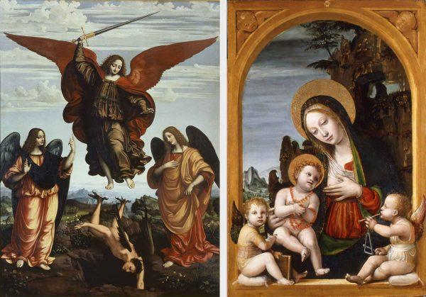 A sinistra, I tre arcangeli, Marco d'Oggiono, 1516 (Pinacoteca di Brera, Sala XI); a destra, Madonna col Bambino e due angeli, Bernardo Zenale, 1500-1502 c.a
