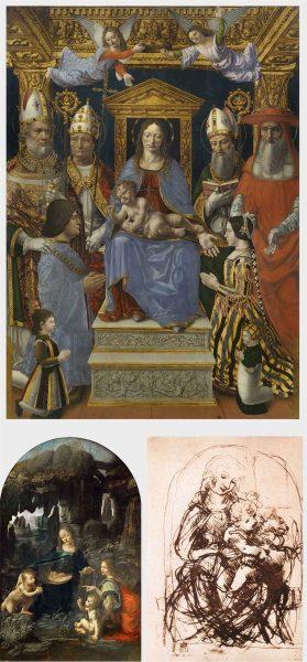"""A sinistra, Madonna in trono con il Bambino, Dottori della Chiesa e la famiglia di Ludovico il Moro (""""Pala Sforzesca""""), Maestro della Pala Sforzesca, 1495 (Pinacoteca di Brera, Sala XI);al centro, Vergine delle Rocce, Leonardo da Vinci, 1483-1486 (Musée du Louvre, Parigi); a destra, Madonna del Gatto, Leonardo da Vinci, 1480-1481 (British Museum, Londra)"""