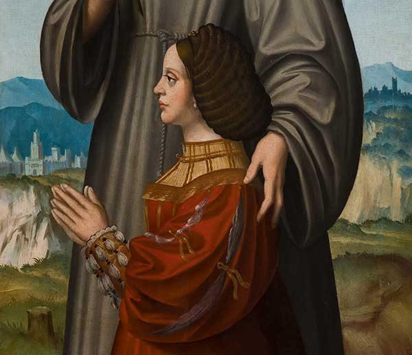 Marco d'Oggiono, Milano? 1465/1470– Milano 1524, Sant'Antonio da Padova e una donatrice, olio su tavola