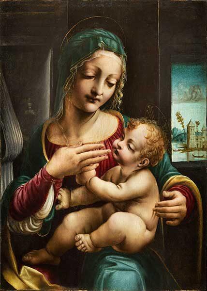 Francesco Napoletano, Francesco Galli (documentato a Milano dal 1490 – Venezia 1501), Madonna con il Bambino, 1490-1500 circa, olio su tavola