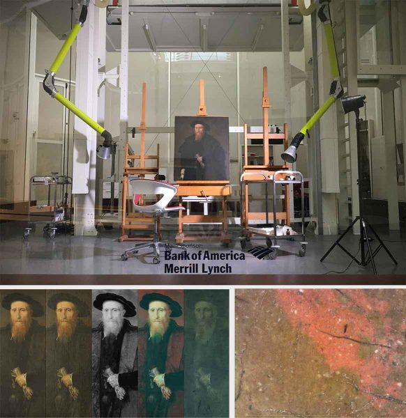 In alto, l'opera collocata nel laboratorio di restauro della Pinacoteca di Brera (Fig. 2); in basso da sinistra, particolare in luce visibile diffusa e radente, riflettografia IR, infrarosso falso colore e fluorescenza ultravioletta (Fig. 3); immagine al microscopio di un pelo della barba realizzato con una sottile pennellata a base cinabro. (230x) (Fig. 4)