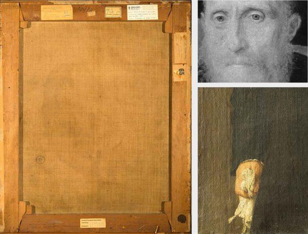 A sinistra, verso del dipinto (Fig. 5); a destra in alto, particolare della riflettografia IR, si evidenzia il disegno sottostante (Fig. 6); a destra in basso, particolare in luce radente  (Fig. 7)