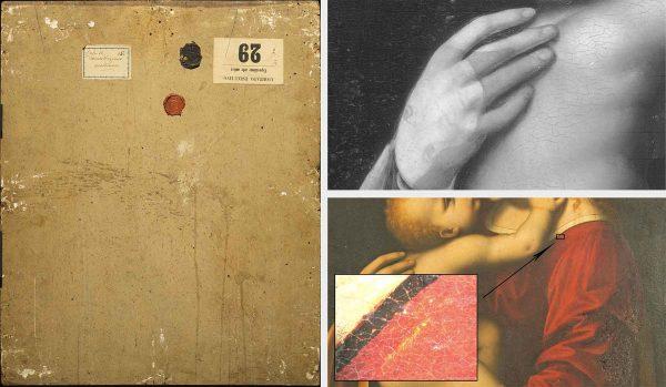 A sinistra, verso del dipinto (Fig. 4); a destra dall'alto, particolare della riflettografia IR, si evidenzia il viso di un Bambino (Fig. 5); in basso, particolare della bordatura in oro della veste rossa sulla spalla della madonna con ripresa al microscopio (55x) (Fig. 6)