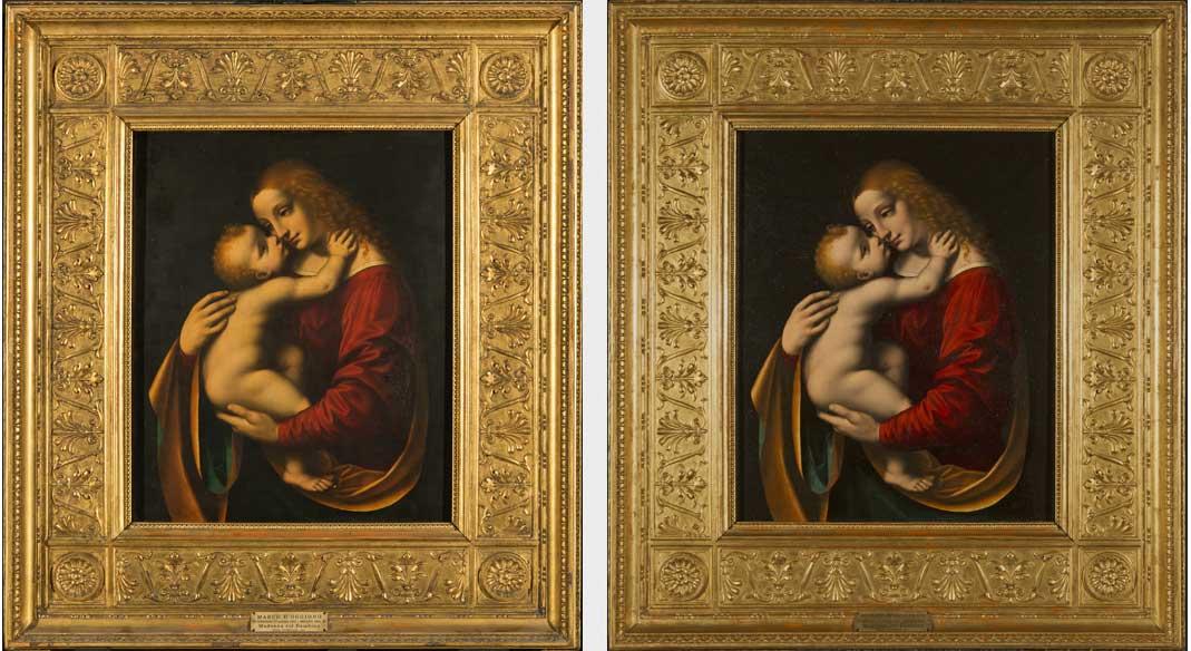 A sinistra, Marco d'Oggiono, Madonna con Bambino, il dipinto in cornice prima del restauro; a destra, il dipinto in cornice dopo il restauro