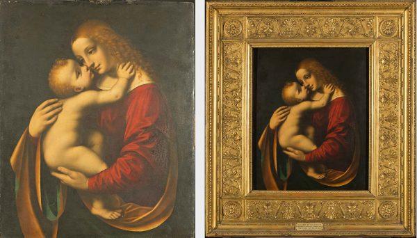 A sinistra, Marco d'Oggiono, Madonna con Bambino – prima del restauro (Fig. 1); a destra, Marco d'Oggiono, Madonna con Bambino – prima del restauro (Fig. 2)