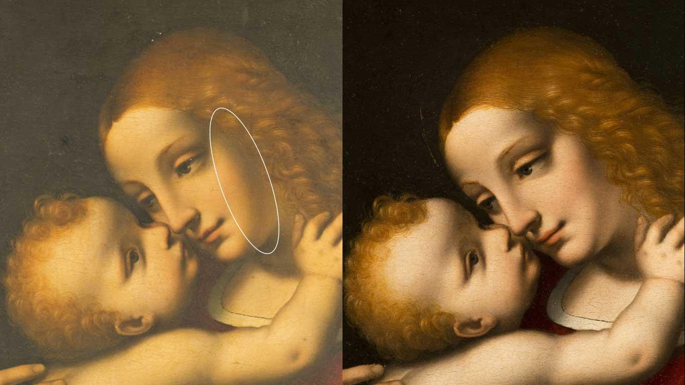 Particolare a confronto del viso della Vergine prima e dopo la pulitura (fig. 9)