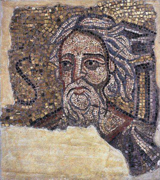 Pannello musivo con testa di sant'Andrea