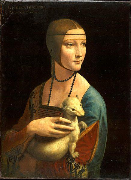 Dama con l'ermellino, Leonardo da Vinci, 1488-1490 (Museo Nazionale di Cracovia, Cracovia)