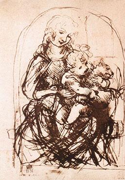 Studio per la Madonna del gatto (recto), Leonardo da Vinci, 1478-1481 (British Museum, Londra)