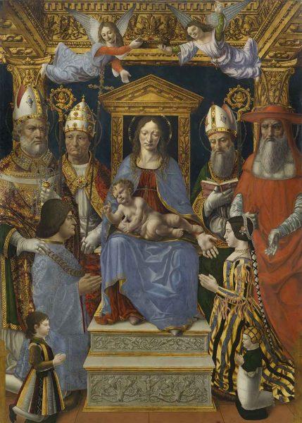 """Madonna in trono con il Bambino, Dottori della Chiesa e la famiglia di Ludovico il Moro (""""Pala Sforzesca""""), Maestro della Pala Sforzesca, 1494 - 1495 (Pinacoteca di Brera, Milano)"""