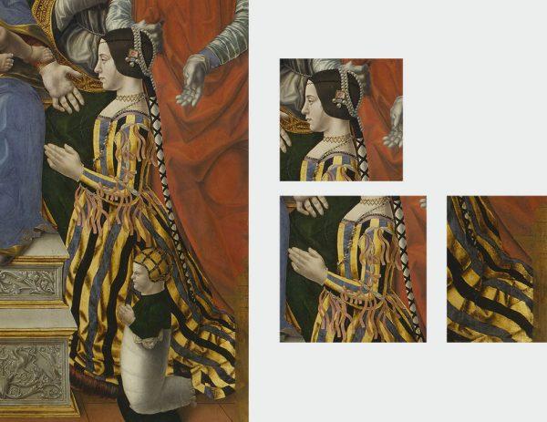 """Dettagli di Beatrice Sforza nella Madonna in trono con il Bambino, Dottori della Chiesa e la famiglia di Ludovico il Moro (""""Pala Sforzesca""""), Maestro della Pala Sforzesca, 1494 - 1495 (Pinacoteca di Brera, Milano)"""