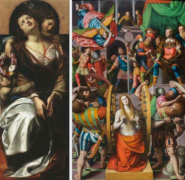 A sinistra, Santa Cecilia e due angeli, Giulio Cesare Procaccini, 1620 – 1625. A destra, Martirio di Santa Caterina, Gaudenzio Ferrari, 1540