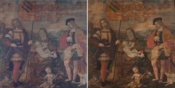 Madonna con il Bambino e i santi Crescentino e Donnino, Timoteo Viti, il restauro prima e dopo
