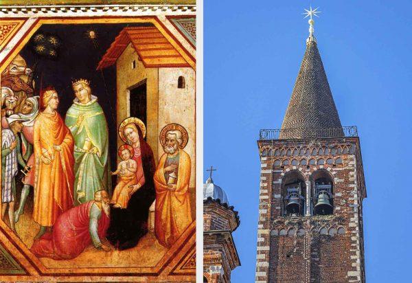 A sinistra, Adorazione dei Magi, Pittore fiorentino, Affresco Santa Maria Novella, dettaglio volto di Gesù Bambino al posto della stella; a destra, Stella a 8 punte posta sul campanile della Basilica di Sant'Eustorgio, in Milano, dove si trova il Sepulcrum Trium Magorum (tomba dei tre Magi).