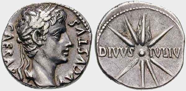 Moneta di età augustea con la raffigurazione di una stella a otto punte